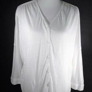 CAbi White Linen Button Down Blouse Size Small